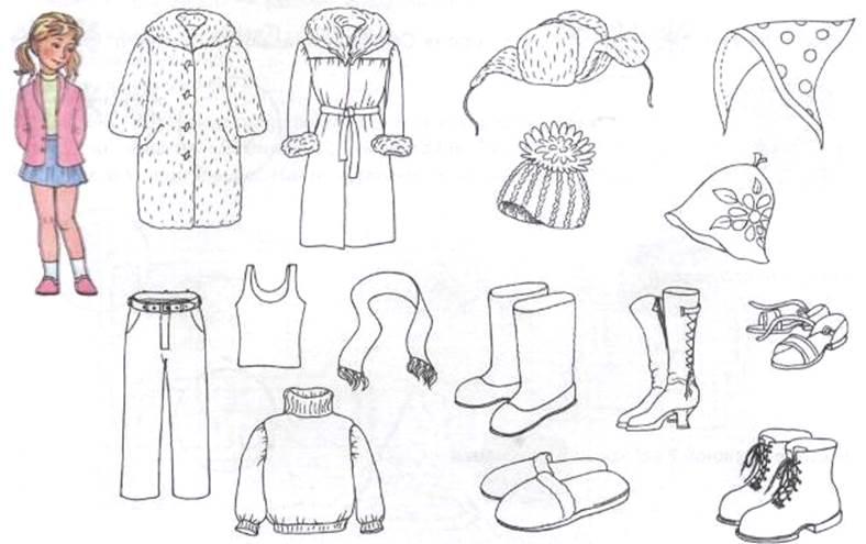 Раскраска Одежда Для Детей